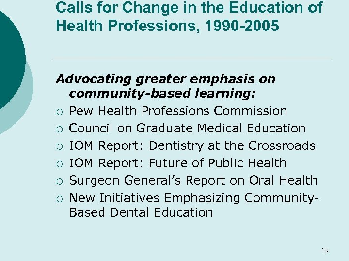 Calls for Change in the Education of Health Professions, 1990 -2005 Advocating greater emphasis