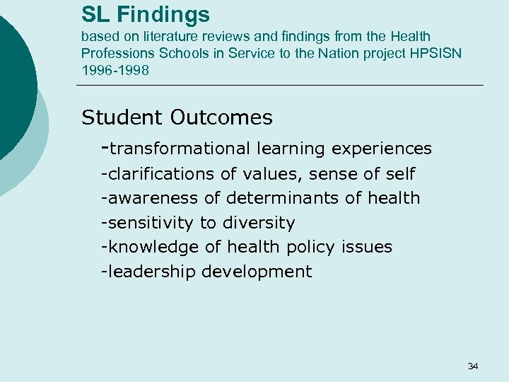 SL Findings based on literature reviews and findings from the Health Professions Schools in