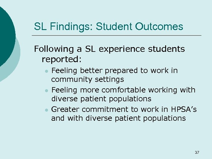 SL Findings: Student Outcomes Following a SL experience students reported: l l l Feeling