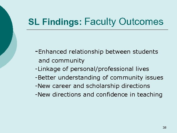 SL Findings: Faculty Outcomes -Enhanced relationship between students and community -Linkage of personal/professional lives