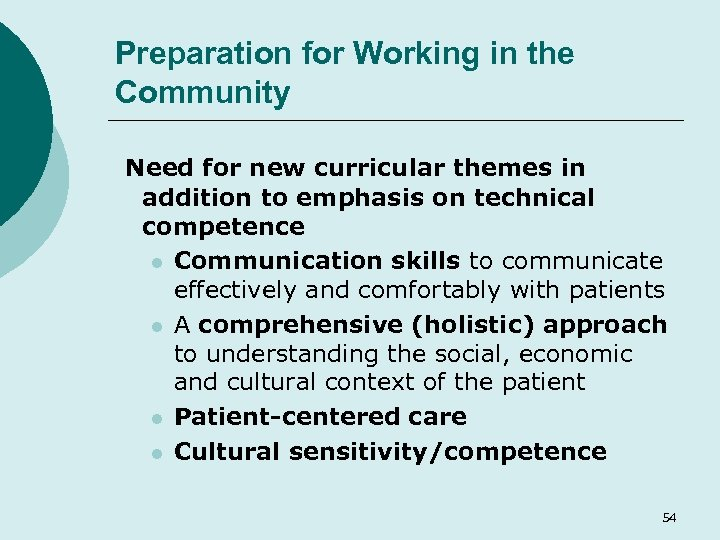 Preparation for Working in the Community Need for new curricular themes in addition to