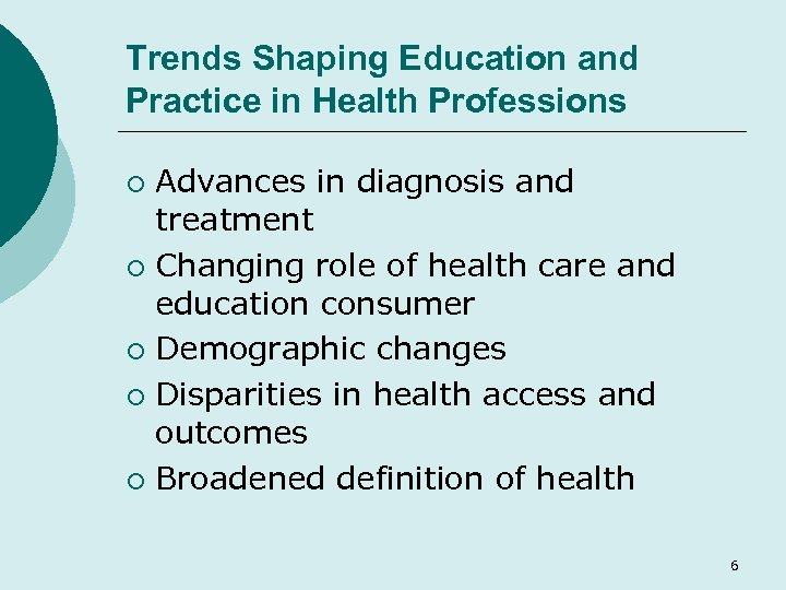 Trends Shaping Education and Practice in Health Professions Advances in diagnosis and treatment ¡