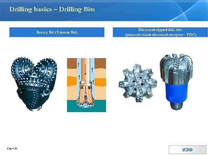Drilling basics – Drilling Bits Rotary Bit (Tricone Bit) Стр 19 Diamond-tipped drill bits