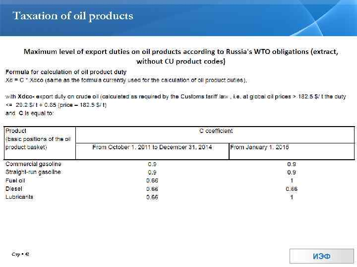 Taxation of oil products Стр 42 ИЭФ
