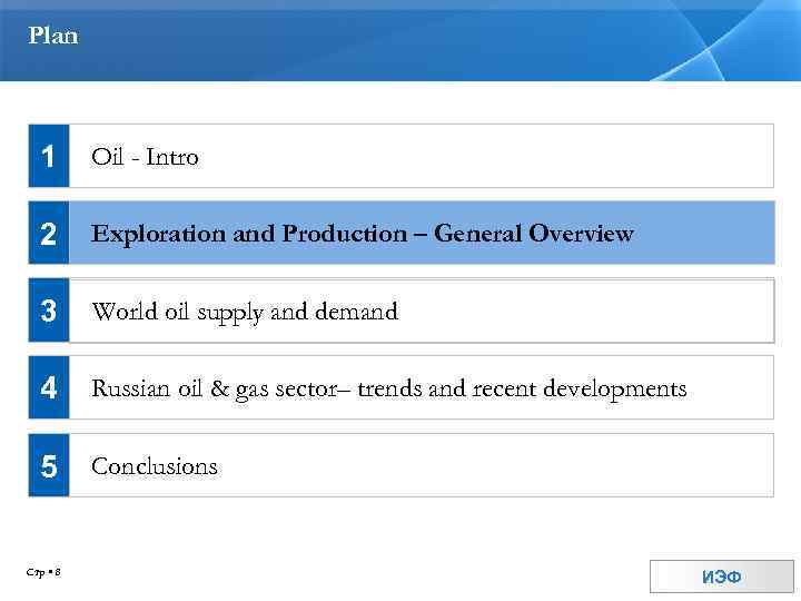 Plan 1 Oil - Intro 2 Exploration and Production – General Overview 3 World