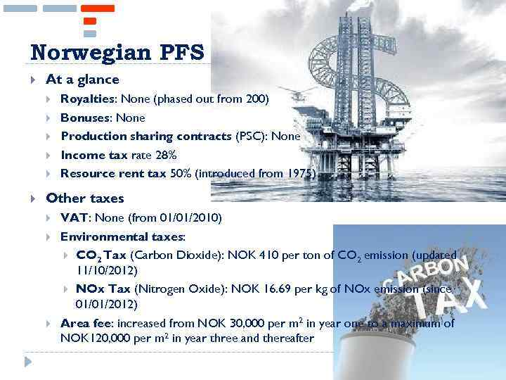 Norwegian PFS At a glance Royalties: None (phased out from 200) Bonuses: None Production