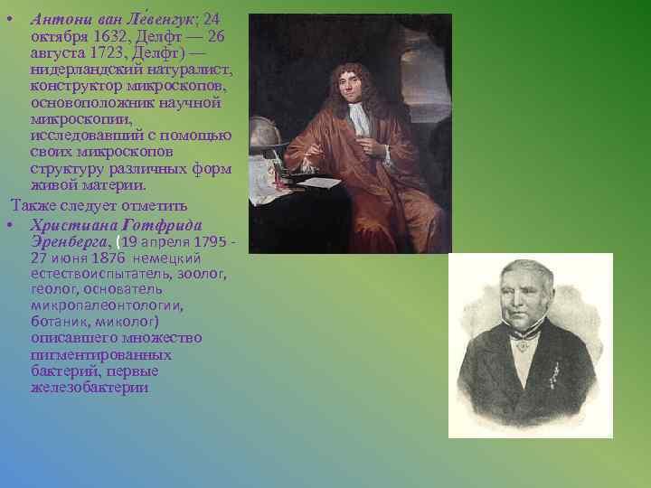 • Антони ван Ле венгук; 24 октября 1632, Делфт — 26 августа 1723,