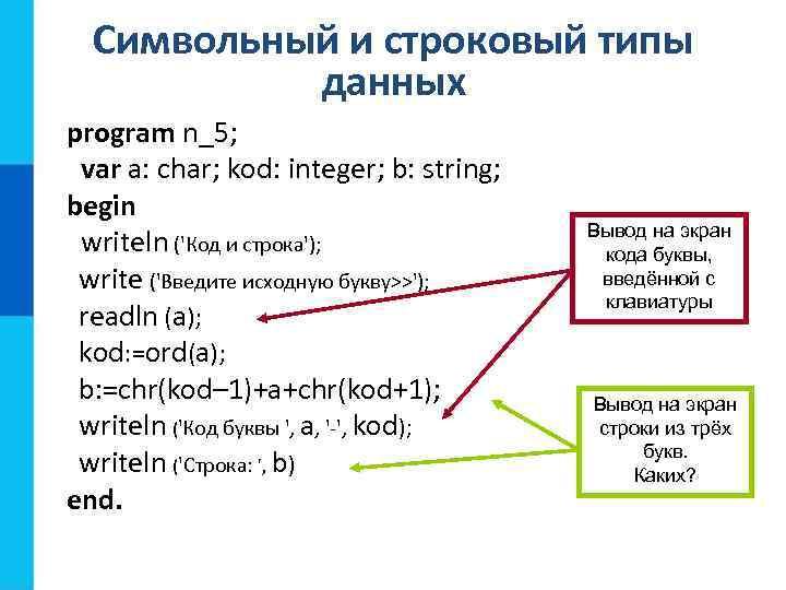 Символьный и строковый типы данных program n_5; var a: char; kod: integer; b: string;
