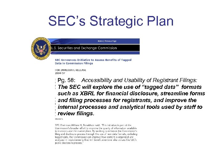 SEC's Strategic Plan Pg. 58: Accessibility and Usability of Registrant Filings: The SEC will