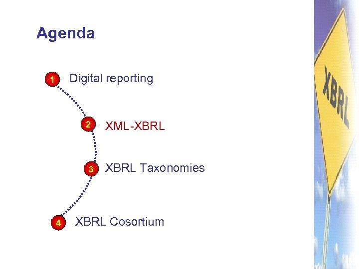 Agenda Digital reporting 1 2 3 4 XML-XBRL Taxonomies XBRL Cosortium
