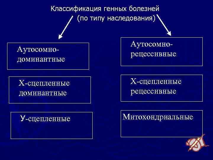 Классификация генных болезней (по типу наследования) Аутосомнодоминантные Аутосомнорецессивные Х-сцепленные доминантные Х-сцепленные рецессивные У-сцепленные