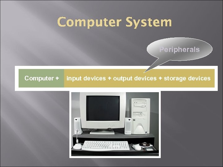 Computer System Peripherals Computer + input devices + output devices + storage devices