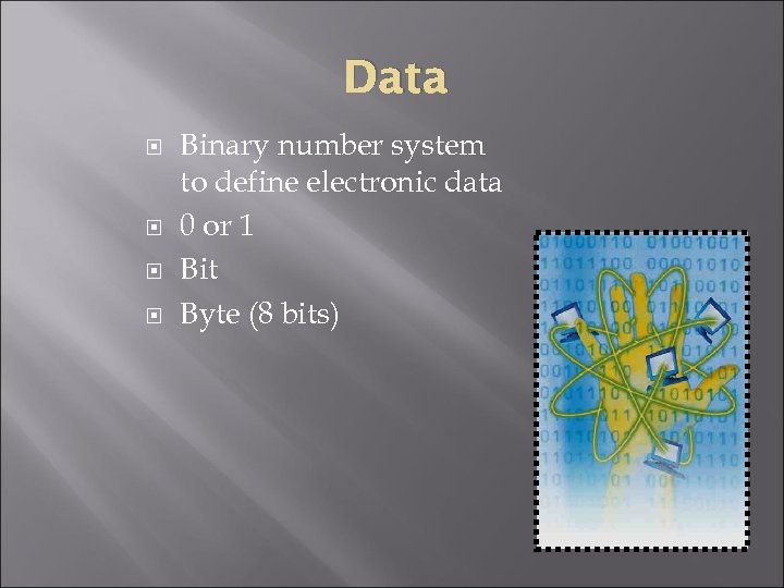 Data Binary number system to define electronic data 0 or 1 Bit Byte (8