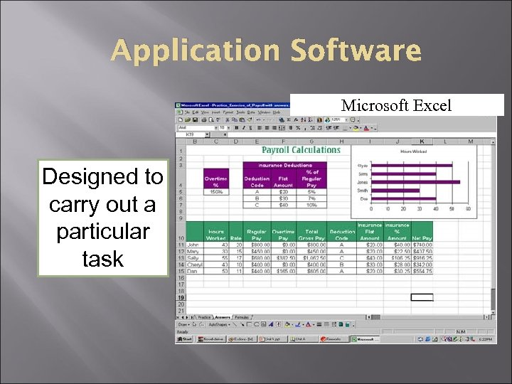 Application Software Microsoft Power. Point Microsoft Excel Designed to carry out a particular task