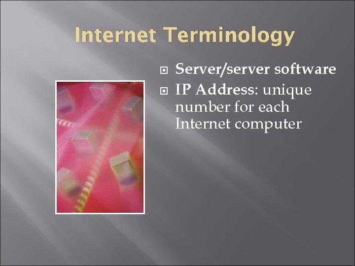 Internet Terminology Server/server software IP Address: unique number for each Internet computer