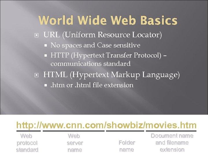 World Wide Web Basics URL (Uniform Resource Locator) No spaces and Case sensitive HTTP