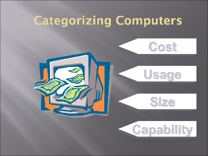 Categorizing Computers Cost Usage Size Capability