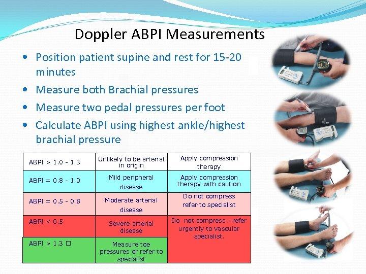 Doppler ABPI Measurements • Position patient supine and rest for 15 -20 minutes •