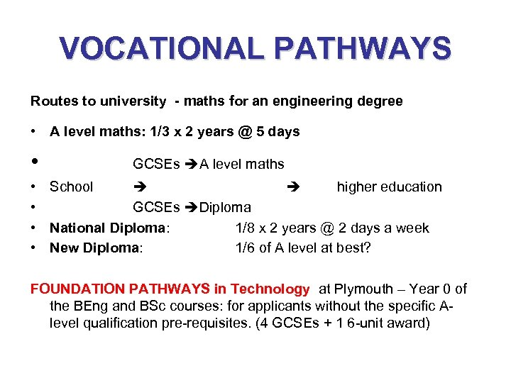 VOCATIONAL PATHWAYS Routes to university - maths for an engineering degree • A level