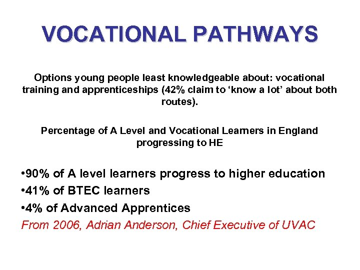 VOCATIONAL PATHWAYS L Actual Vocational Progression to HE Options young people least knowledgeable about: