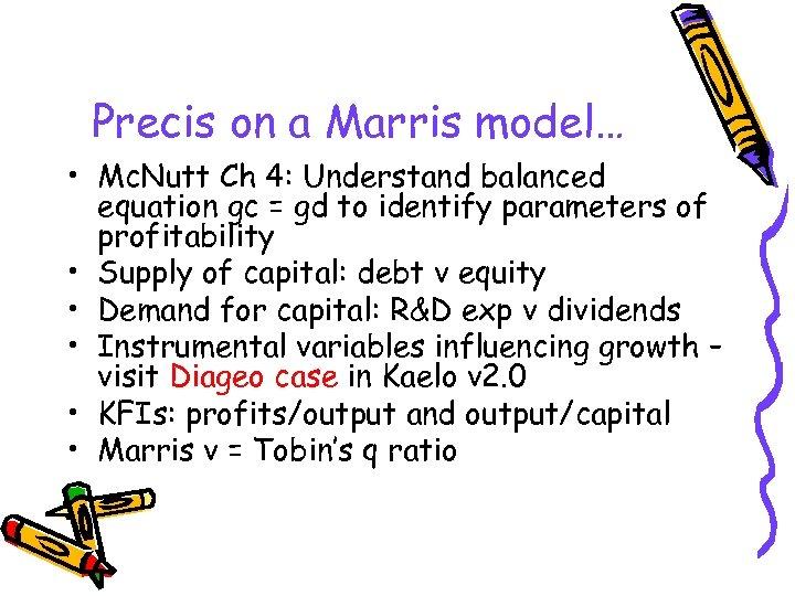 Precis on a Marris model… • Mc. Nutt Ch 4: Understand balanced equation gc