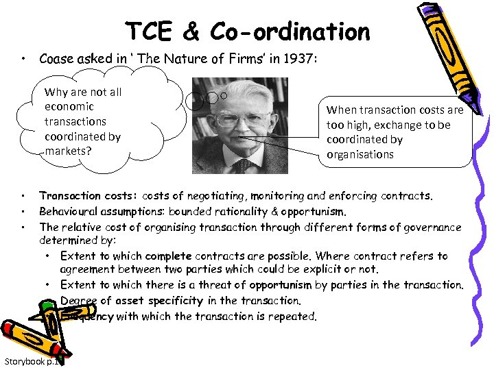 TCE & Co-ordination • Coase asked in ' The Nature of Firms' in 1937: