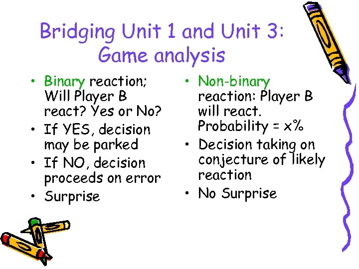 Bridging Unit 1 and Unit 3: Game analysis • Binary reaction; Will Player B