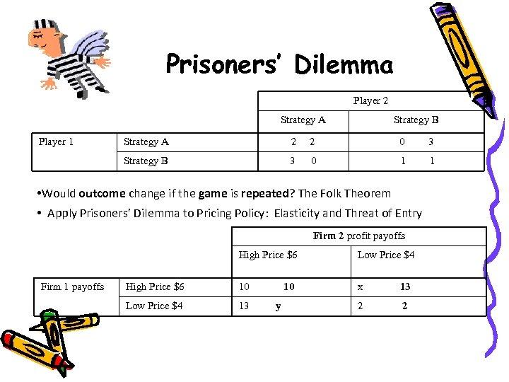 Prisoners' Dilemma Player 2 Strategy A Player 1 Strategy B Strategy A 2 2