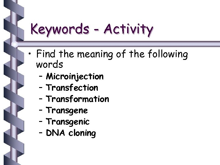 Keywords - Activity • Find the meaning of the following words – – –