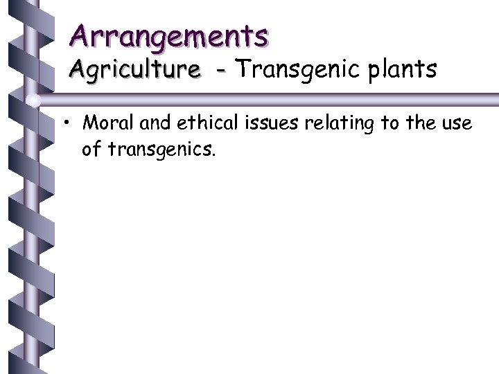 Arrangements Agriculture - Transgenic plants • Moral and ethical issues relating to the use