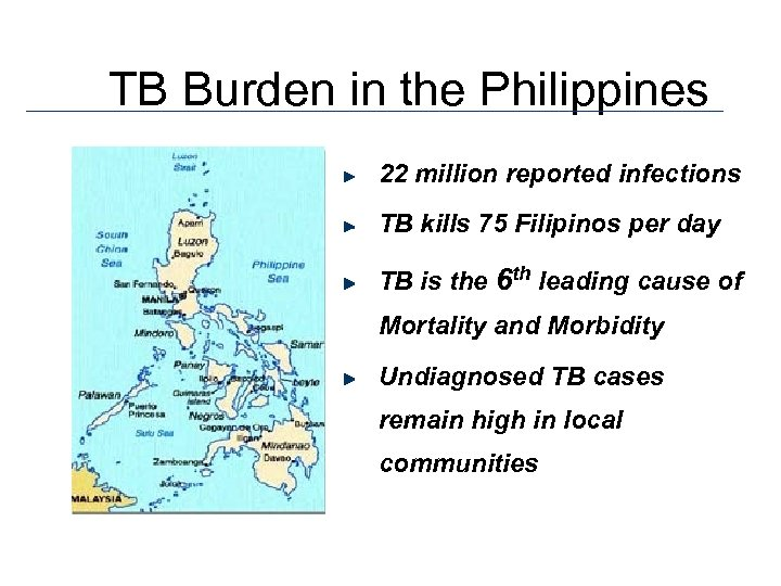 TB Burden in the Philippines 22 million reported infections TB kills 75 Filipinos per