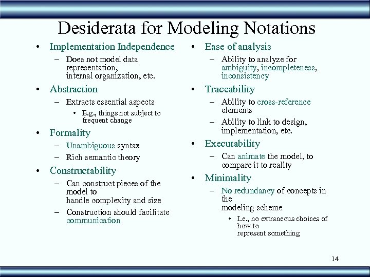 Desiderata for Modeling Notations • Implementation Independence – Does not model data representation, internal