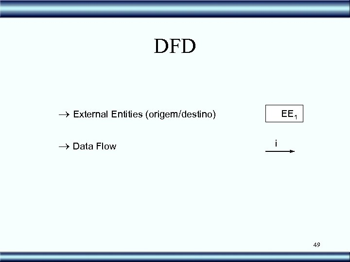 DFD ® External Entities (origem/destino) ® Data Flow EE 1 i 49