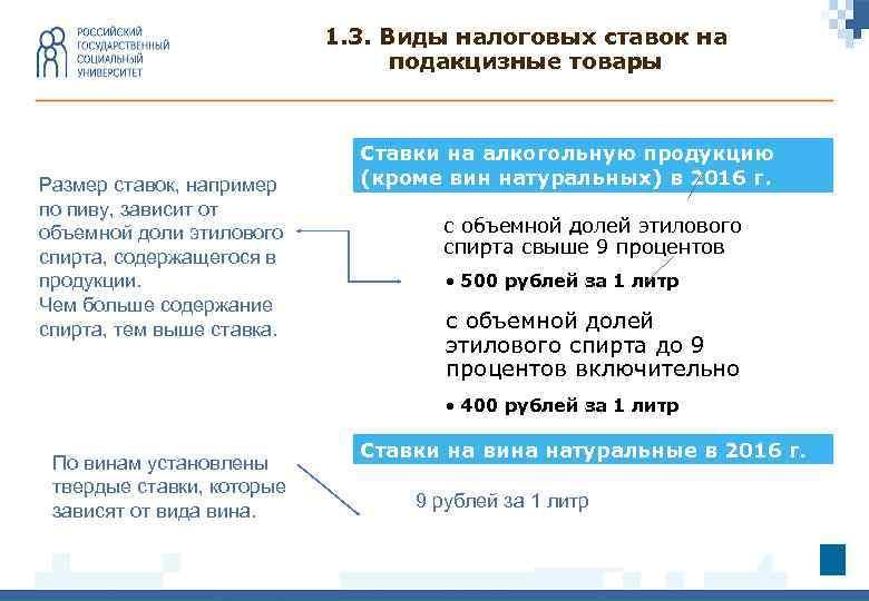 1. 3. Виды налоговых ставок на подакцизные товары Размер ставок, например по пиву, зависит