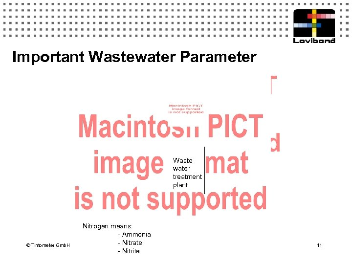 Important Wastewater Parameter Waste water treatment plant © Tintometer Gmb. H Nitrogen means: -