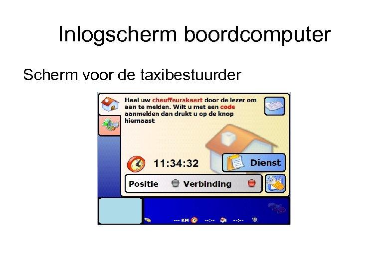 Inlogscherm boordcomputer Scherm voor de taxibestuurder