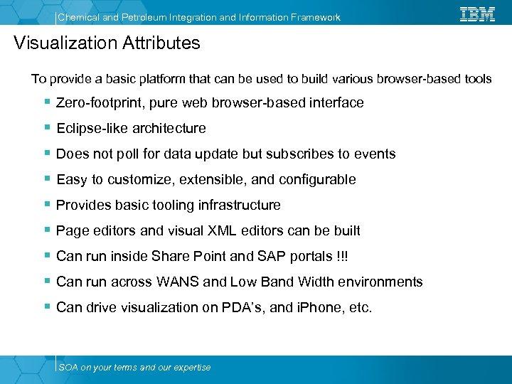 Chemical and Petroleum Integration and Information Framework Visualization Attributes To provide a basic platform