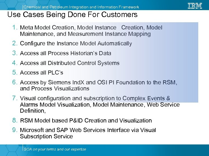 Chemical and Petroleum Integration and Information Framework Use Cases Being Done For Customers 1.