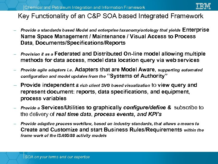 Chemical and Petroleum Integration and Information Framework Key Functionality of an C&P SOA based