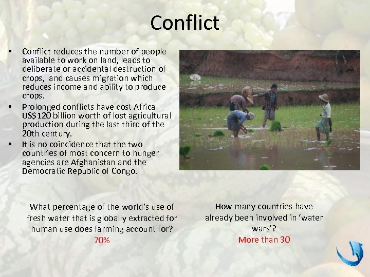 Conflict • • • Conflict reduces the number of people available to work on