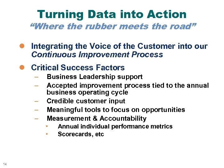"""Turning Data into Action """"Where the rubber meets the road"""" l Integrating the Voice"""