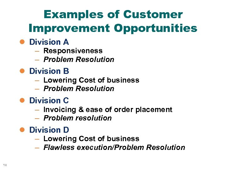 Examples of Customer Improvement Opportunities l Division A – Responsiveness – Problem Resolution l