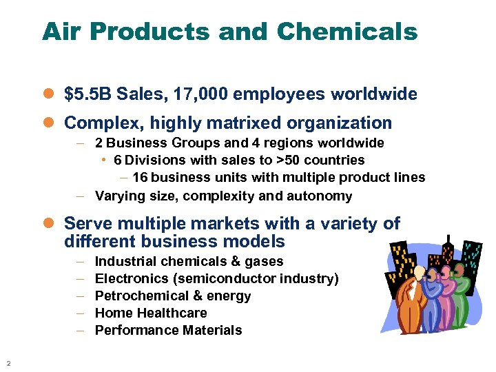 Air Products and Chemicals l $5. 5 B Sales, 17, 000 employees worldwide l