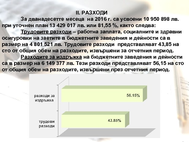 ІІ. РАЗХОДИ За дванадесетте месеца на 2016 г. са усвоени 10 950 898