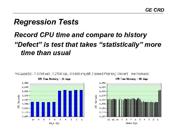 """GE CRD Regression Tests Record CPU time and compare to history """"Defect"""" is test"""
