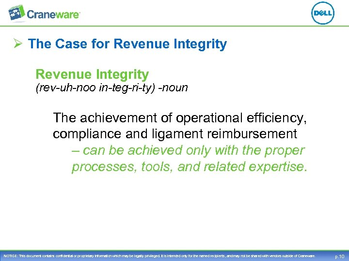 Ø The Case for Revenue Integrity (rev-uh-noo in-teg-ri-ty) -noun The achievement of operational efficiency,