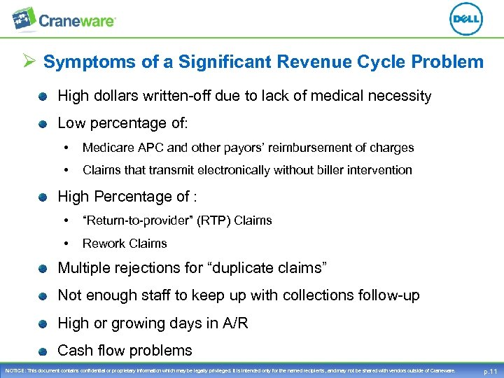 Ø Symptoms of a Significant Revenue Cycle Problem High dollars written-off due to lack