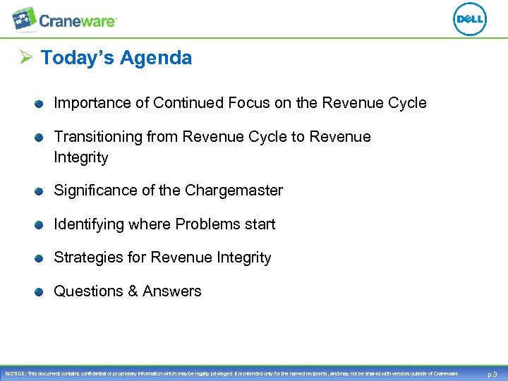 Ø Today's Agenda Importance of Continued Focus on the Revenue Cycle Transitioning from Revenue