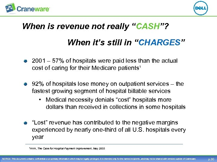 "When is revenue not really ""CASH""? When it's still in ""CHARGES"" 2001 – 57%"