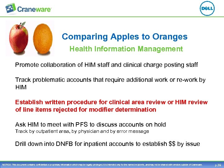 Comparing Apples to Oranges Health Information Management Promote collaboration of HIM staff and clinical